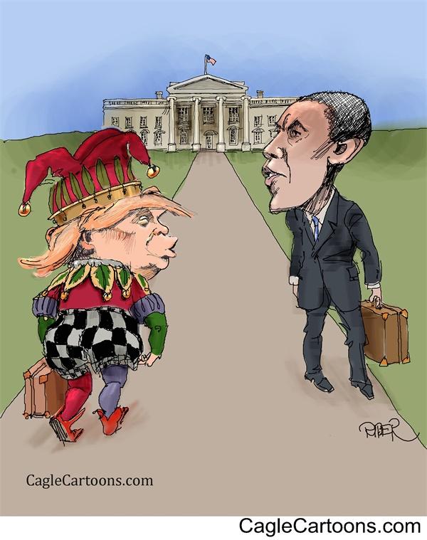 تیپ جدید ترامپ برای ورود به کاخ سفید! +کاریکاتور